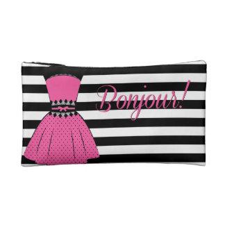 Pequeño bolso cosmético rayado elegante