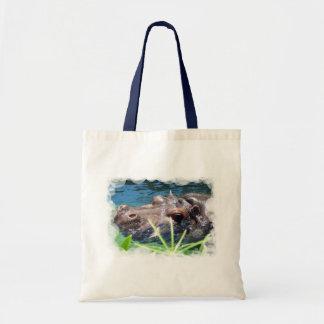 Pequeño bolso del hipopótamo hambriento bolsas lienzo