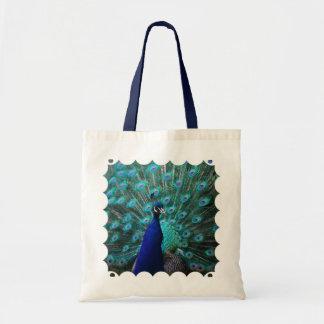 Pequeño bolso del pavo real bonito bolsa lienzo