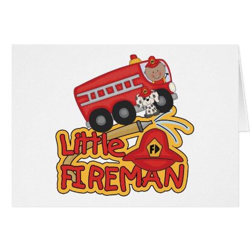 Pequeño bombero, afroamericano tarjeta de felicitación