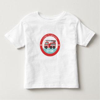 Pequeño bombero, coche de bomberos rojo, para los playera de bebé
