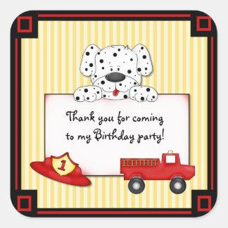 Pequeño bombero Dalmation - primer cumpleaños Calcomanía Cuadradas Personalizada