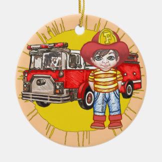Pequeño bombero adorno redondo de cerámica