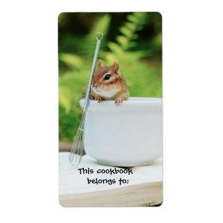 Pequeño bookplate del libro de cocina del chipmunk etiqueta de envío