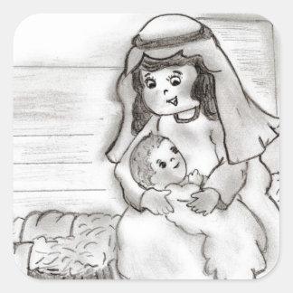 Pequeño bosquejo de Jesús de Maria y del bebé Pegatinas Cuadradas