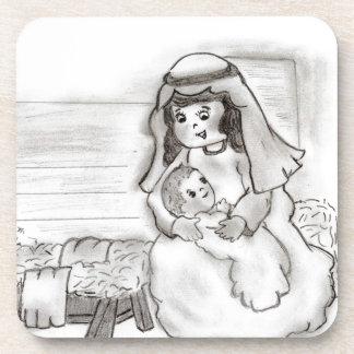 Pequeño bosquejo de Jesús de Maria y del bebé Posavaso