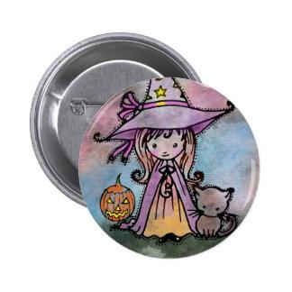Pequeño botón de Halloween Pinback de la bruja y d