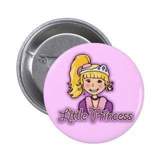 Pequeño botón de la lila del chica del pelo rubio pins