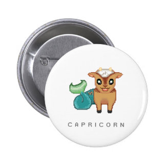 Pequeño botón del Capricornio Pin Redondo De 2 Pulgadas