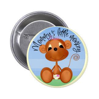 Pequeño botón del mono de la mamá pin