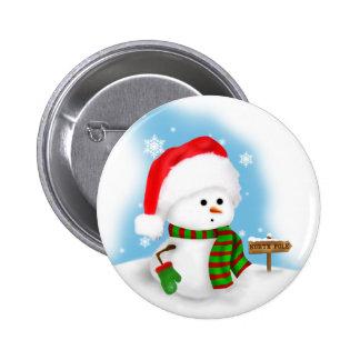 Pequeño botón del muñeco de nieve pin redondo de 2 pulgadas
