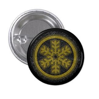 Pequeño botón redondo del oro del copo de nieve pin redondo de 1 pulgada