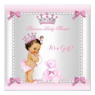 """Pequeño Brunette lindo del chica de la princesa Invitación 5.25"""" X 5.25"""""""