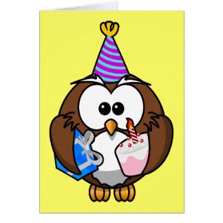 Pequeño búho animado lindo del fiesta tarjeta