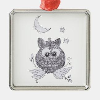 Pequeño búho del zentangle con la luna ornamento para arbol de navidad