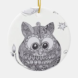 Pequeño búho del zentangle con la luna ornaments para arbol de navidad