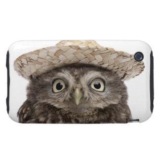 Pequeño búho que lleva un gorra de paja - noctua d tough iPhone 3 cárcasa
