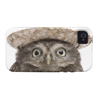 Pequeño búho que lleva un gorra de paja - noctua d vibe iPhone 4 carcasa
