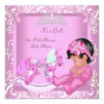 Pequeño caballo mecedora del chica de la princesa invitación personalizada