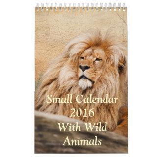 Pequeño calendario 2016 con los animales salvajes