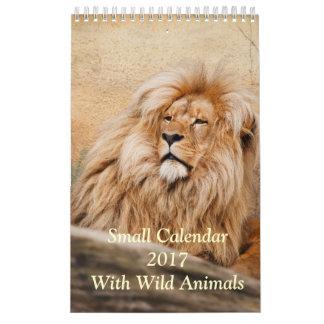Pequeño calendario 2017 con los animales salvajes