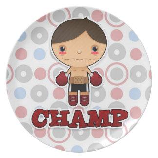 Pequeño campeón - placa - muchacho platos de comidas