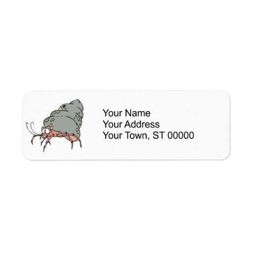 pequeño cangrejo de ermitaño lindo etiqueta de remite