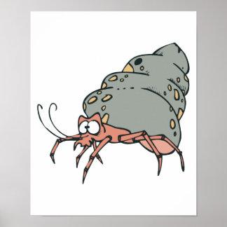 pequeño cangrejo de ermitaño lindo póster