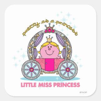 Pequeño carro chispeante de la Srta. princesa el | Pegatina Cuadrada