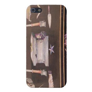 Pequeño caso de madera, con símbolos del Freemason iPhone 5 Coberturas