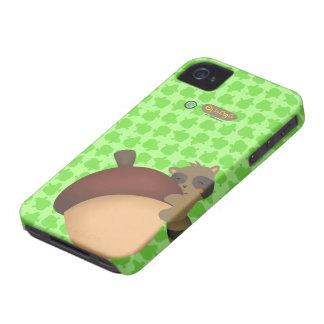 Pequeño caso del verde de Blackberry del Racoon iPhone 4 Carcasa