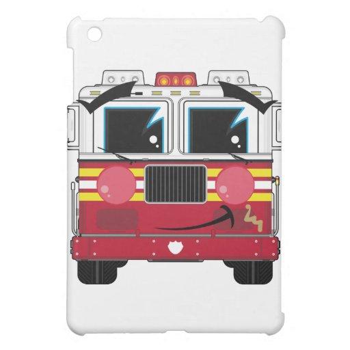 Pequeño caso lindo del ipad del coche de bomberos