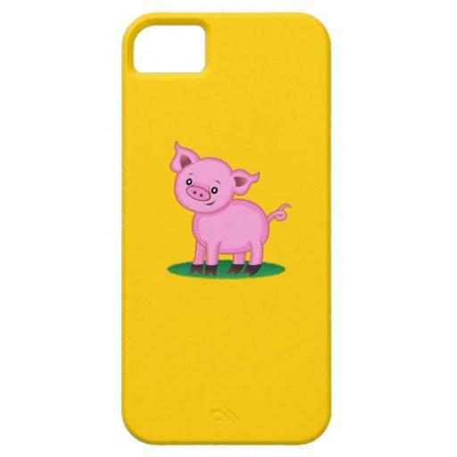 Pequeño caso lindo del iPhone 5 del cerdo Funda Para iPhone 5 Barely There