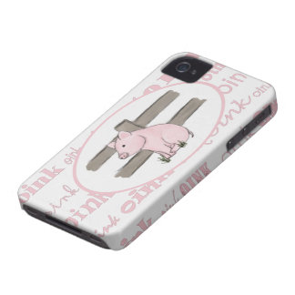 Pequeño caso rosado del iPhone 4 del cochinillo iPhone 4 Case-Mate Cobertura