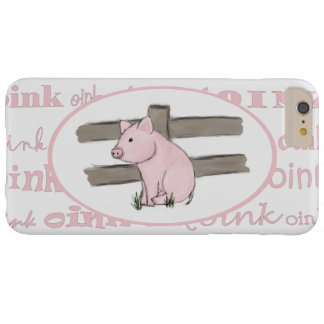 Pequeño caso rosado del iPhone 4 del cochinillo Funda De iPhone 6 Plus Barely There