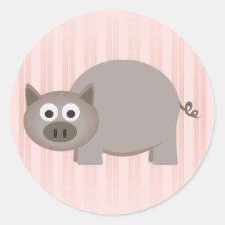 Pequeño cerdo de Brown Pegatina Redonda
