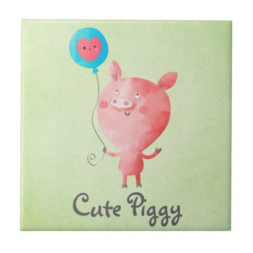 Pequeño cerdo lindo azulejos