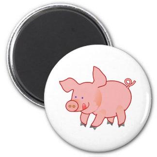 Pequeño cerdo lindo imán redondo 5 cm
