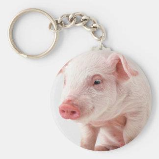 Pequeño cerdo llavero redondo tipo pin