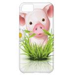 Pequeño cerdo rosado en hierba