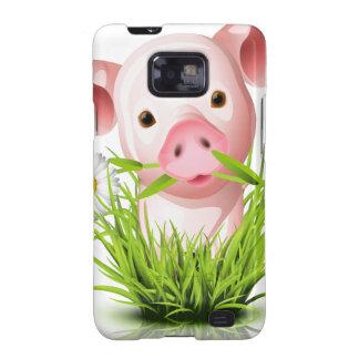 Pequeño cerdo rosado en hierba samsung galaxy s2 carcasas