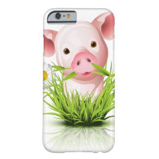 Pequeño cerdo rosado en hierba funda de iPhone 6 slim
