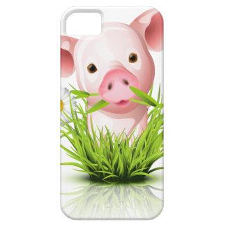 Pequeño cerdo rosado en hierba iPhone 5 protector