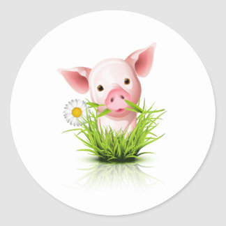 Pequeño cerdo rosado en hierba etiqueta
