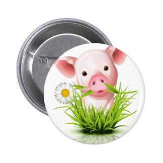 Pequeño cerdo rosado en hierba pin