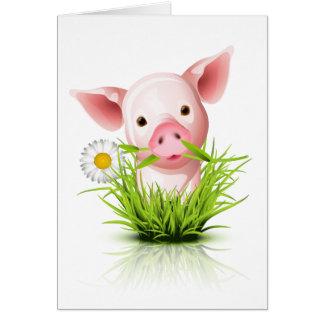 Pequeño cerdo rosado en hierba felicitacion