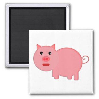 Pequeño cerdo rosado imán cuadrado