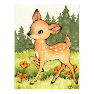 Pequeño cervatillo - arte lindo de los ciervos postal