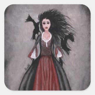 Pequeño chica cabelludo negro + Cuervos Pegatinas Cuadradas Personalizadas
