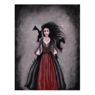 Pequeño chica cabelludo negro + Cuervos Postal